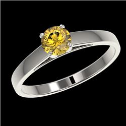 0.54 CTW Certified Intense Yellow SI Diamond Solitaire Engagement Ring 10K White Gold - REF-65M5F -
