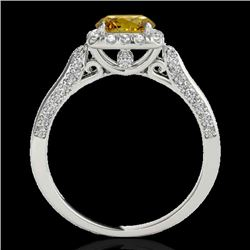 1.5 CTW Certified Si Fancy Intense Yellow Diamond Solitaire Halo Ring 10K White Gold - REF-176R4K -