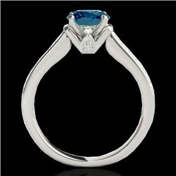 1.5 CTW SI Certified Fancy Blue Diamond Solitaire Ring 10K White Gold - REF-174K5R - 34930