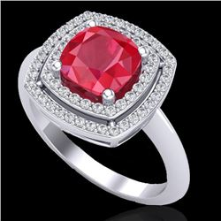 2.52 CTW Ruby & Micro VS/SI Diamond Certified Pave Halo Ring 18K White Gold - REF-74H5W - 20766