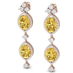 12.21 CTW Royalty Canary Citrine & VS Diamond Earrings 18K Rose Gold - REF-254H5W - 38920