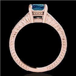 1.75 CTW SI Certified Blue Diamond Solitaire Antique Ring 10K Rose Gold - REF-254F5M - 34771