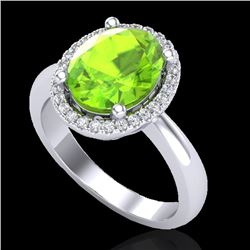 2.50 CTW Peridot & Micro Pave VS/SI Diamond Certified Ring Halo 18K White Gold - REF-54T8X - 21110