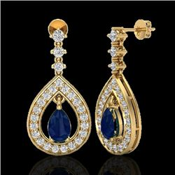 2.25 CTW Sapphire & Micro Pave VS/SI Diamond Earrings Designer 14K Yellow Gold - REF-105N5Y - 23156