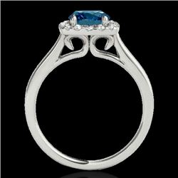 1.37 CTW SI Certified Fancy Blue Diamond Solitaire Halo Ring 10K White Gold - REF-167H3W - 33414