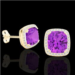 6 CTW Amethyst & Micro Pave VS/SI Diamond Halo Solitaire Earrings 18K Yellow Gold - REF-77T3X - 2279
