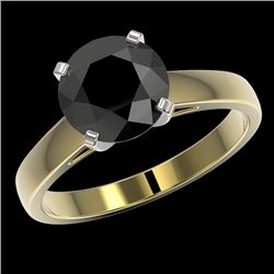 2.59 CTW Fancy Black VS Diamond Solitaire Engagement Ring 10K Yellow Gold - REF-67K3R - 36565