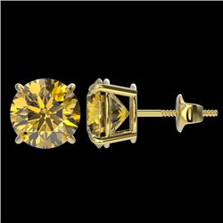 3 CTW Certified Intense Yellow SI Diamond Solitaire Stud Earrings 10K Yellow Gold - REF-514H2W - 331