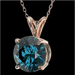 2.04 CTW Certified Intense Blue SI Diamond Solitaire Necklace 10K Rose Gold - REF-416M2F - 36815