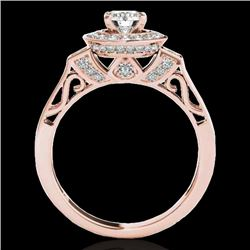 1.5 CTW H-SI/I Certified Diamond Solitaire Halo Ring 10K Rose Gold - REF-180W2H - 34568