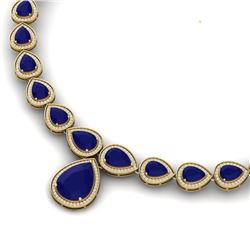 51.41 CTW Royalty Sapphire & VS Diamond Necklace 18K Yellow Gold - REF-927H3W - 39428