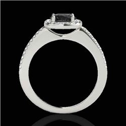 1.25 CTW Certified Vs Black Diamond Solitaire Halo Ring 10K White Gold - REF-58F8M - 33826