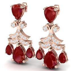 11.97 CTW Royalty Designer Ruby & VS Diamond Earrings 18K Rose Gold - REF-176Y4N - 38719