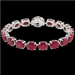 75 CTW Ruby & Micro Pave VS/SI Diamond Halo Bracelet 14K White Gold - REF-457H8W - 22275