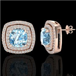 4.05 CTW Sky Blue Topaz & Micro VS/SI Diamond Halo Earrings 14K Rose Gold - REF-84M8F - 20156