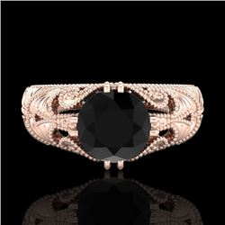 1 CTW Fancy Black Diamond Solitaire Engagement Art Deco Ring 18K Rose Gold - REF-90N9Y - 37528