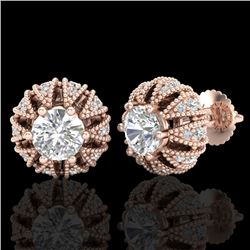 2.01 CTW VS/SI Diamond Art Deco Micro Pave Stud Earrings 18K Rose Gold - REF-272N8Y - 36996