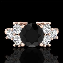 2.1 CTW Fancy Black Diamond Solitaire Engagement Classic Ring 18K Rose Gold - REF-154F5M - 37605