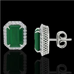 10.40 CTW Emerald & Micro Pave VS/SI Diamond Halo Earrings 18K White Gold - REF-142T4X - 21224