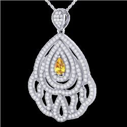 2 CTW Yellow Sapphire & Micro VS/SI Diamond Designer Necklace 18K White Gold - REF-169F6M - 21277