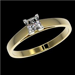 0.50 CTW Certified VS/SI Quality Princess Diamond Solitaire Ring 10K Yellow Gold - REF-77Y6N - 32967