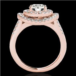 1.75 CTW H-SI/I Certified Diamond Solitaire Halo Ring 10K Rose Gold - REF-200Y2N - 34284