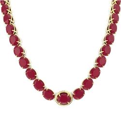 170 CTW Ruby & VS/SI Diamond Necklace 14K Yellow Gold - REF-993W8H - 22313