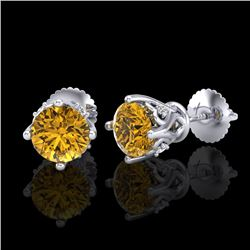 1.26 CTW Intense Fancy Yellow Diamond Art Deco Stud Earrings 18K White Gold - REF-127Y3N - 37791