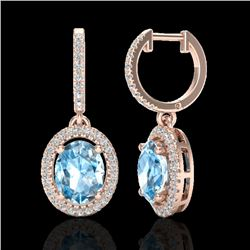 4.25 CTW Sky Blue Topaz & Micro VS/SI Diamond Earrings Halo 14K Rose Gold - REF-84H2W - 20314