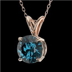 1.01 CTW Certified Intense Blue SI Diamond Solitaire Necklace 10K Rose Gold - REF-134Y5N - 36766