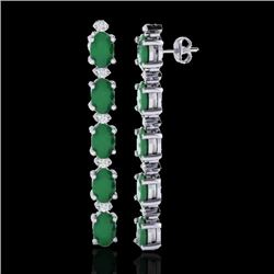 12.36 CTW Emerald & VS/SI Certified Diamond Tennis Earrings 10K White Gold - REF-93R3K - 29394
