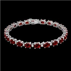 25.8 CTW Garnet & VS/SI Certified Diamond Eternity Bracelet 10K White Gold - REF-119Y3N - 29452