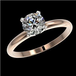 1.03 CTW Certified H-SI/I Quality Diamond Solitaire Engagement Ring 10K Rose Gold - REF-136H4W - 363