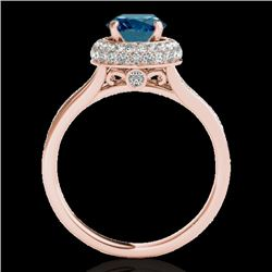 1.6 CTW SI Certified Fancy Blue Diamond Solitaire Halo Ring 10K Rose Gold - REF-178R2K - 34120