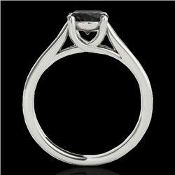 1 CTW Certified Vs Black Diamond Solitaire Ring 10K White Gold - REF-42R4K - 35528