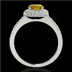 1.6 CTW Certified Si Fancy Intense Yellow Diamond Solitaire Halo Ring 10K White Gold - REF-169K3R -