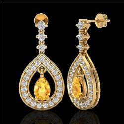 2.25 CTW Citrine & Micro Pave VS/SI Diamond Earrings Designer 14K Yellow Gold - REF-99R8K - 23150