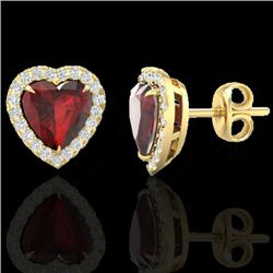 2.22 CTW Garnet & Micro Pave VS/SI Diamond Earrings Heart Halo 14K Yellow Gold - REF-43H6W - 21206