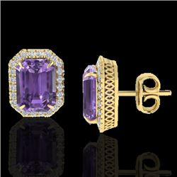 9.40 CTW Amethyst & Micro Pave VS/SI Diamond Halo Earrings 18K Yellow Gold - REF-73H3W - 21217