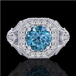 1.75 CTW Fancy Intense Blue Diamond Solitaire Art Deco Ring 18K White Gold - REF-236F4M - 38279
