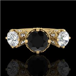 3.06 CTW Fancy Black Diamond Solitaire Art Deco 3 Stone Ring 18K Yellow Gold - REF-294N9Y - 37389