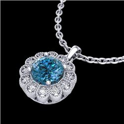 1.15 CTW Fancy Intense Blue Diamond Solitaire Art Deco Necklace 18K White Gold - REF-180K2R - 37845