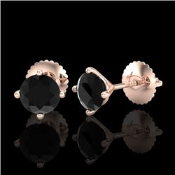 1.01 CTW Fancy Black Diamond Solitaire Art Deco Stud Earrings 18K Rose Gold - REF-45N5Y - 38228
