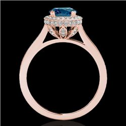 1.55 CTW SI Certified Fancy Blue Diamond Solitaire Halo Ring 10K Rose Gold - REF-180F2M - 33532