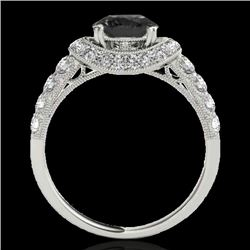 1.75 CTW Certified Vs Black Diamond Solitaire Halo Ring 10K White Gold - REF-86N4Y - 34453