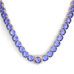 100 CTW Tanzanite & VS/SI Diamond Solitaire Necklace 14K Rose Gold - REF-1345X3T - 23362