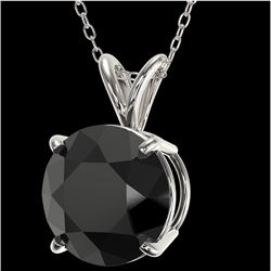 2.58 CTW Fancy Black VS Diamond Solitaire Necklace 10K White Gold - REF-62H9W - 36821