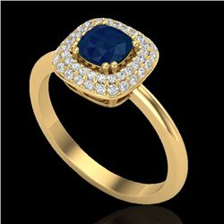 1.16 CTW Sapphire & Micro VS/SI Diamond Ring Double Halo 18K Yellow Gold - REF-71H6W - 21036