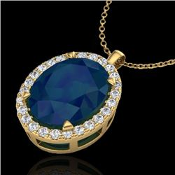 2.75 CTW Sapphire & Micro VS/SI Diamond Halo Solitaire Necklace 18K Yellow Gold - REF-60R2K - 20599