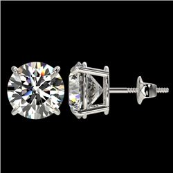 4 CTW Certified H-SI/I Quality Diamond Solitaire Stud Earrings 10K White Gold - REF-940K9R - 33131